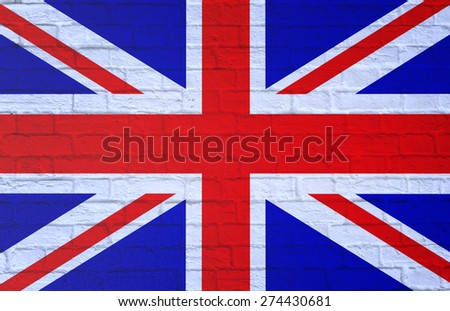 Flag of Great Britain. Textured brick wall.3D - stock photo