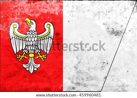 Flag of Greater Poland Voivodeship, Poland, with a vintage and old look - stock photo