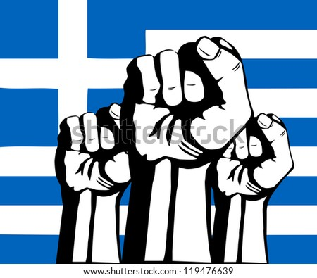 Flag of Greece.Crisis and protests in Greece - stock photo