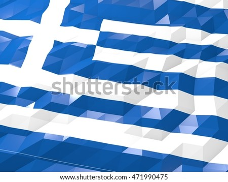 Flag of Greece 3D Wallpaper Illustration, National Symbol, Low Polygonal Glossy Origami Style