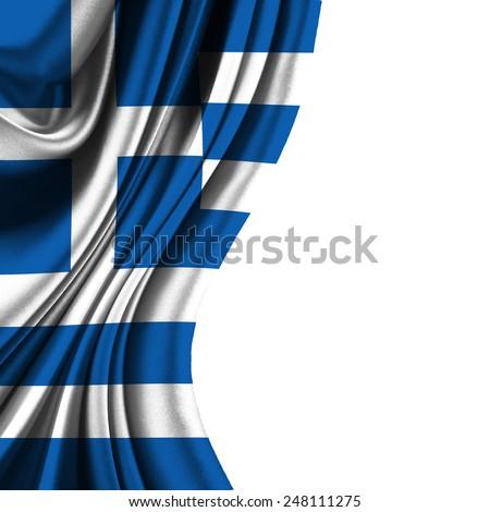 Flag of Greece half curtain  - stock photo