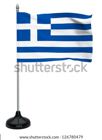 Flag of Greece hanging on the flagpole on a white background - stock photo