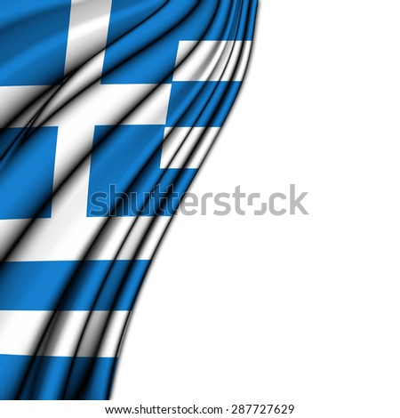 Flag of Greece , in silk  with folded soft waves to make room at the white background - stock photo