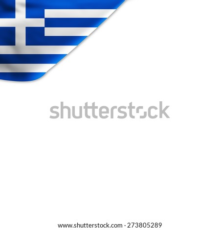 Flag of Greece located in the corner page - stock photo