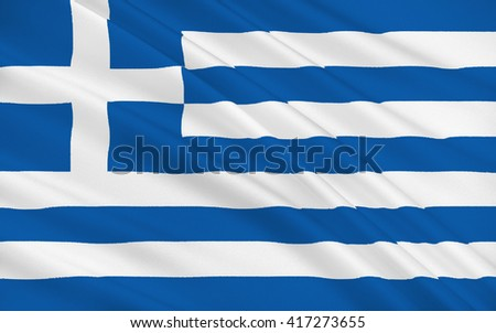 Flag of Greece officially the Hellenic Republic also known since ancient times as Hellas is a country located in southeastern Europe - stock photo