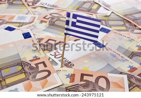 Flag of Greece sticking in european banknotes.(series) - stock photo