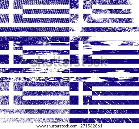 Flag of Greece with old texture.  illustration - stock photo