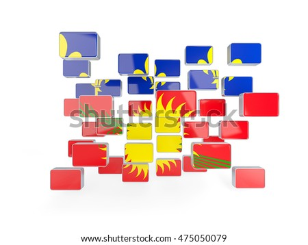 Flag of guadeloupe, mosaic background. 3D illustration