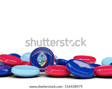 Flag of guam, round buttons isolated on white. 3D illustration