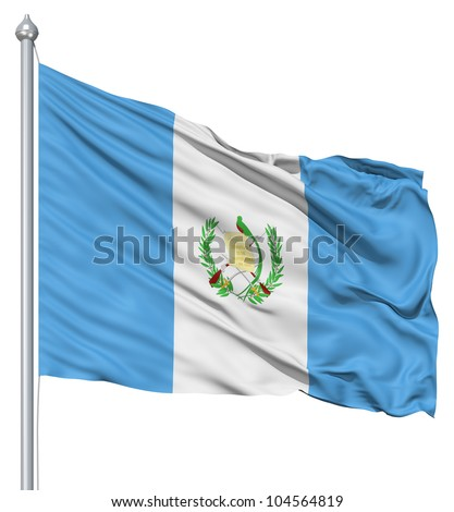 Flag of Guatemala with flagpole waving in the wind against white background - stock photo