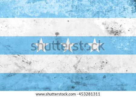 Flag of Guayaquil, Ecuador, with a vintage and old look - stock photo