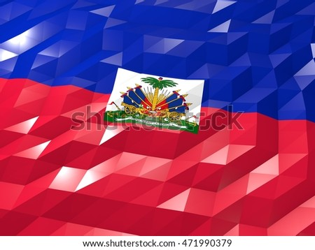 Flag of Haiti 3D Wallpaper Illustration, National Symbol, Low Polygonal Glossy Origami Style