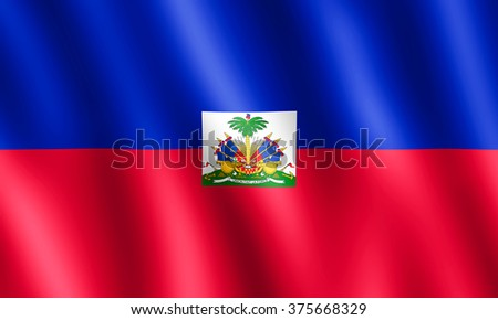 Flag of Haiti waving in the wind giving an undulating texture of folds in the fabric. The Image is in the official ratio of the flag - 3:5.