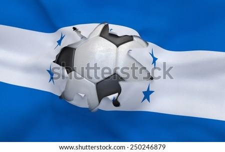 Flag of Honduras and soccer ball, hole in flag - stock photo
