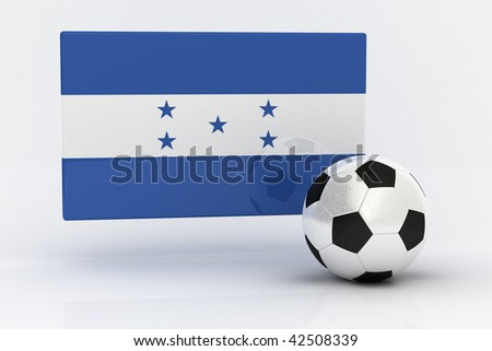Flag of Honduras with soccer ball - stock photo