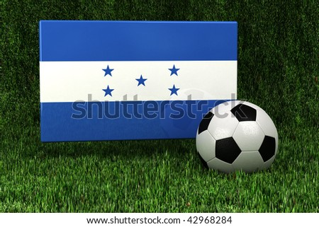 Flag of Honduras with soccer ball over grass background - very highly detailed render - stock photo