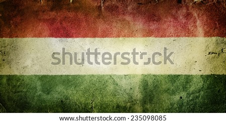 flag of Hungary. Old vintage paper texture. - stock photo