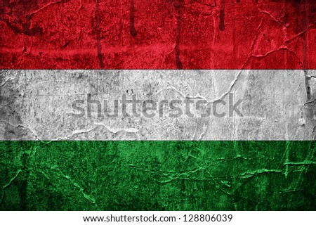 Flag of Hungary overlaid with grunge texture - stock photo