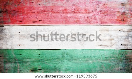 Flag of Hungary painted on grungy wood plank background - stock photo