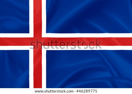 Flag of Iceland, 3D illustration, waving silk texture
