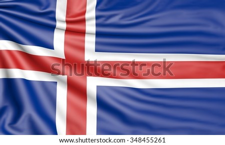Flag of Iceland, 3d illustration with fabric texture