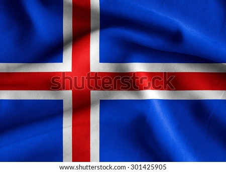 Flag of Iceland. Flag has a detailed realistic fabric texture.