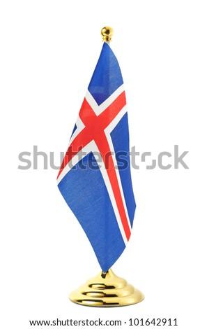 Flag of Iceland hanging on the gold flagpole,Isolated on the white background - stock photo