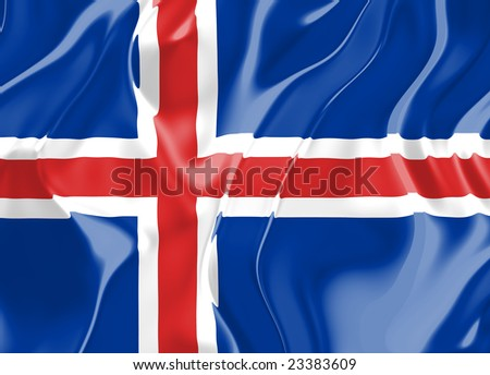 Flag of Iceland, national country symbol illustration