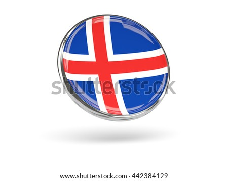 Flag of iceland. Round icon with metal frame, 3D illustration - stock photo