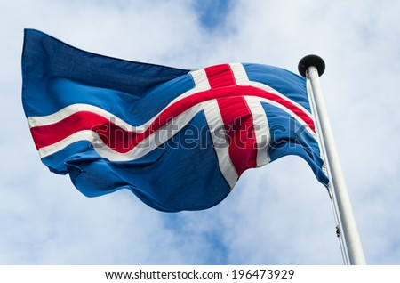 Flag of Iceland waving in the wind - stock photo