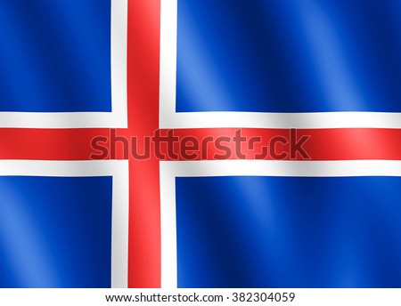Flag of Iceland waving in the wind giving an undulating texture of folds in the fabric. The Image is in the official ratio of the flag - 18:25.