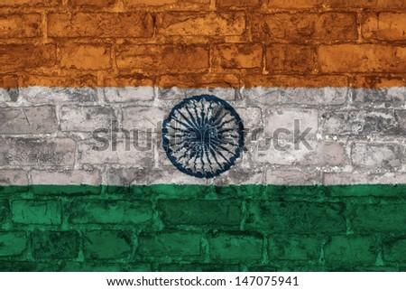 flag of india graphic on brick background - stock photo
