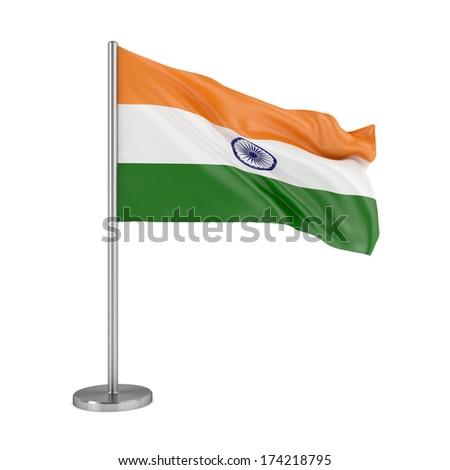 Flag of India isolated on white background - stock photo