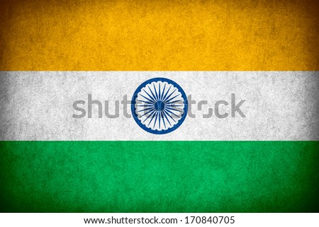 flag of India or Indian banner on paper rough pattern texture