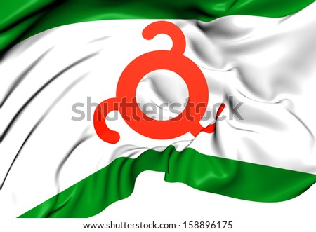 Flag of Ingushetia, Russia. Close Up.