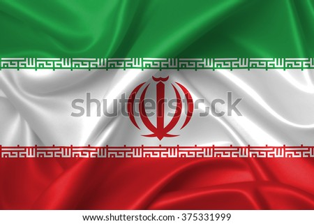 Flag of Iran 3D, silk texture - stock photo