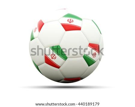 Flag of iran on football, isolated on white. 3D illustration - stock photo
