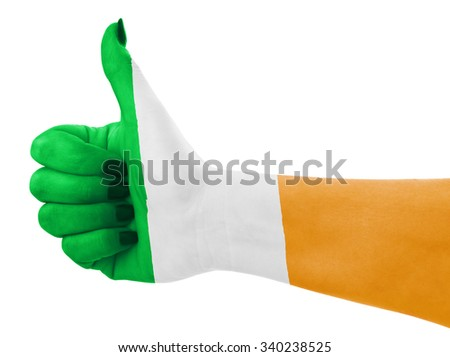 Flag of Ireland isolated on female's hand - stock photo