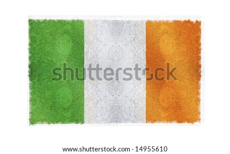 Flag of Ireland on old wall background, vector wallpaper, texture, banner, illustration