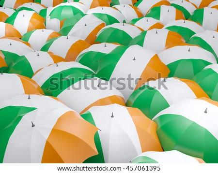 Flag of ireland on umbrella. 3D illustration - stock photo