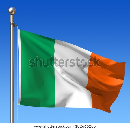 Flag of Ireland waving in the wind against blue sky. Three dimensional rendering illustration. - stock photo