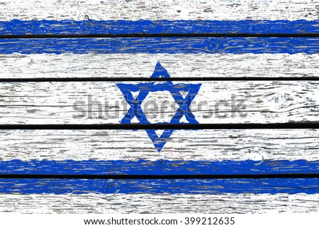 Flag of Israel painted on wood texture background - stock photo