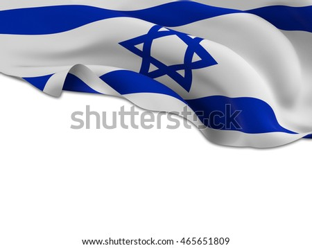 Flag of Israel waving on a white background left for your creativity-3d rendering