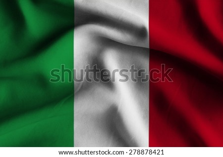 Flag of Italy. Flag has a detailed realistic fabric texture. - stock photo