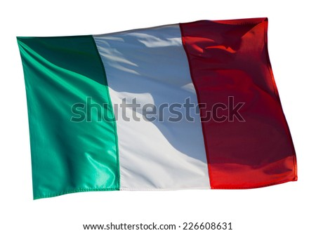 Flag of Italy. Isolated over white background
