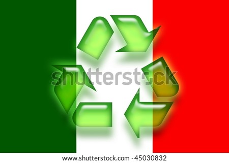 Flag of Italy, national country symbol illustration eco recycling