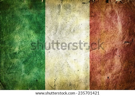 flag of Italy. Old vintage paper texture. - stock photo