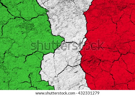Flag of Italy on rugged wall full of scratches - metaphor of problem and crisis leading to collapse of country - economical bankruptcy, migration crisis - stock photo
