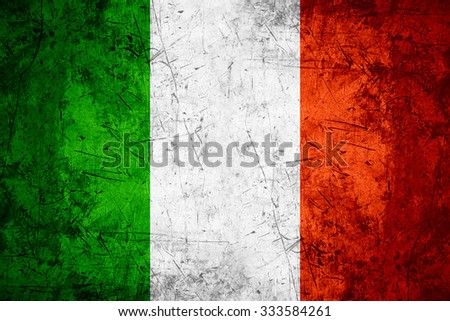 flag of Italy or Italian banner on rough pattern metal background