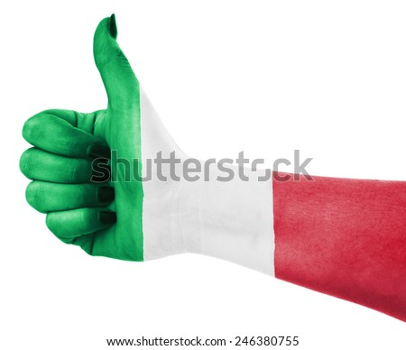 Flag of Italy over female's hand - stock photo